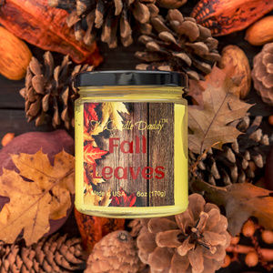 Fall Leaves Scented Jar Candle- 6 Ounce- NEW